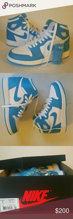 Air Jordan 1 Retro High 6Youth Brand new white/powder blue Air Jordan 1 Retro High.  Size 6Youth. Brand new, never worn. Box and receipt included. Extra powder blue laces still attached to shoe. Thanks for looking! Jordan Shoes Sneakers