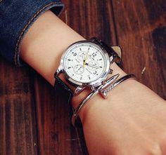 Armbanduhren - Schwarz Minimalist Armbanduhr,Unisex Leder Uhren - ein Designerstück von SexySugar bei DaWanda