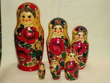Russian Traditional ethnic wooden nesting toy doll six in one Matryoshka 1960s!