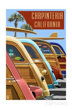 Carpinteria, California - Woodies Lined Up Posters by Lantern Press at…