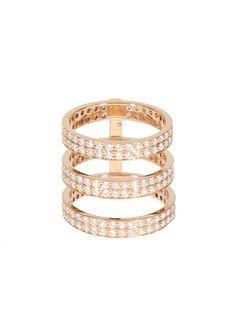 Repossi Rings :: Repossi pink gold and white diamonds three rows Berber phalanx ring | Montaigne Market