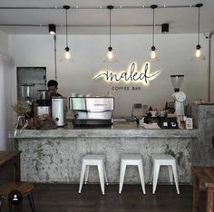 If you are a coffee lover, the best DIY Coffee Bar Ideas are here to inspire you coffee altar, your coffee worshiping game changes now! Coffee Bar Design, Coffee Shop Interior Design, Bar Interior, Restaurant Interior Design, Coffee Cafe Interior, Studio Interior, Small Coffee Shop, Coffee Shop Bar, Coffee Shop Signs