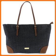 728cac4700 Bebe Womens Debbie Faux Leather Trim Shopper Tote Handbag Denim Large -  Shoulder bags (