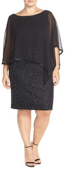 Nordstrom - J Kara Chiffon Overlay Beaded Cocktail Dress (Plus Size) Trendy Dresses, Elegant Dresses, Beautiful Dresses, Nice Dresses, Short Dresses, Elegant Clothing, Maxi Dresses, Plus Size Cocktail Dresses, Plus Size Dresses