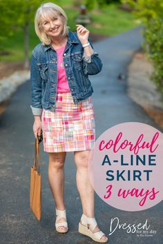 colorful A-Line Skirt - how to wear colorful clothes over 50 - summer outfit inspiration - summer styles for women over 50 - Talbots outfits Summer Outfits, Casual Outfits, Fashion Outfits, Pastel Skirt, Colourful Outfits, Colorful Clothes, White Espadrilles, A Line Skirts, Talbots