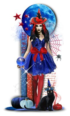 """Red & Blue Witch"" by tracireuer ❤ liked on Polyvore featuring art"