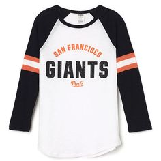 PINK San Francisco Giants Baseball Tee (56 CAD) ❤ liked on Polyvore featuring tops, t-shirts, lightweight t shirts, san francisco giants t shirt, pink top, white tee and pink tee