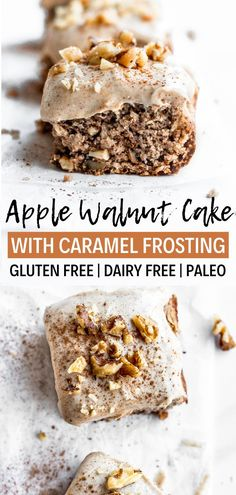 This fresh apple cake recipe is gluten free, dairy free and paleo! It's full of … This fresh apple cake recipe is gluten free, dairy free and paleo! It's full of cinnamon and topped with a delicious caramel frosting that's… Continue Reading → Dessert Dips, Apple Dessert Recipes, Köstliche Desserts, Holiday Desserts, Pumpkin Dessert, Health Desserts, Dinner Recipes, Patisserie Sans Gluten, Dessert Sans Gluten
