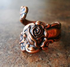 Antiqued Copper Spoon Ring with Rose Exclusive by EnchantedLockets