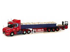 Scania T Dropside with Sand Bag Load and Moffett Mounty (Larkins Logistics) in Red (1:50 scale by Corgi CC12824)