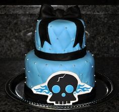 Great Skull Boy Baby Shower or Birthday Party Cake