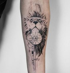 By Koit, Berlin. Forearm black tattoo - lion, compass and Illuminati. Graphic style tattoo Inked arm Tattoo ideas KOit Tattoo Tattoo artist Germany tattoo artists Animal tattoo Compass tattoo tattoos for guys Inspiration Black tattoo Arm Tattoos For Guys Forearm, Lion Forearm Tattoos, Head Tattoos, Body Art Tattoos, Sleeve Tattoos, Tatoos, Wolf Tattoos, Tattoos Arm Mann, Animal Tattoos