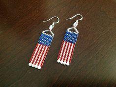 AMERICAN FLAG, Bead Woven, Patriotic, Peyote, Flag Earrings
