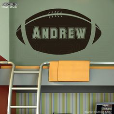 Wall decals PERSONALIZED BABY NAME on a football decorative graphics by Decals Murals (15x28) on Etsy, $25.00