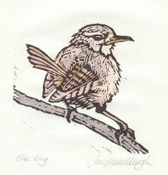 """the king"" wren / bird - lino print - Jane Mickelborough, France"