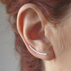 Silver ear climber earrings, Ball ear cuff. Line earrings, Ear wrap earrings. Ear crawler sterling silver Conch Earring, Helix Earrings, Bar Earrings, Silver Earrings, Geometric Jewelry, Modern Jewelry, Trendy Jewelry, Minimalist Earrings, Minimalist Jewelry