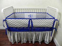 Custom Crib Bedding Skyler - Chevron Gray and Stripes with Royal Blue on Etsy, $277.00