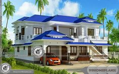 Beach Home Plans For Narrow Lots with Elevations and Latest Small Modern House Ideas , Attractive & Pretty Double Floor Above 3000 sq ft House Plans Free Four Bedroom House Plans, Beach House Plans, House Plans One Story, Dream House Plans, Modern House Plans, House Floor Plans, New Home Designs, Home Design Plans, House Plans With Pictures