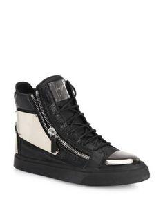 GIUSEPPE ZANOTTI Double Zip High-Top Sneakers. #giuseppezanotti #shoes #sneakers
