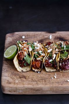 Korean Fried Chicken Tacos with Sweet Slaw, Crunchy Noodles + Queso Fresco   #food #photography