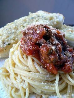 homemade bolognese sauce (or marinara, minus the meat) Could be left simmering in your crockpot!  (leaving this recipe on this board as the ground beef can be easily replaced with ground turkey)