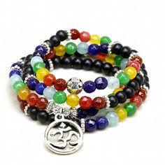7 Chakra Natural Stone 108 Mala Beads Om Charm Bracelet Necklace Yoga Meditation