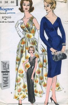 1960 VOGUE SPECIAL DESIGN 4160 EVENING GOWN COCKTAIL DRESS PATTERN DEEP V NECKLINE
