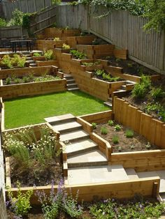 Flower Garden Ideas Sloping tiered garden incorporating softwood sleepers to manage height