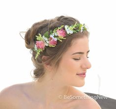 Woodland Wedding Flower Crown in Pink and White for Your Wedding Day, Flower Headpiece, Floral Wedding Wreath, Wedding Hair on Etsy, $56.00