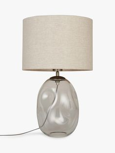 Croft Collection Burdock Glass Table Lamp, Grey at John Lewis & Partners