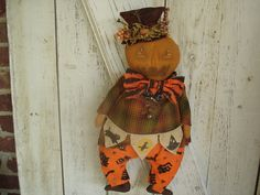 Pumpkin Man Halloween Doll Fall Doll Dolls by YorkiesPrimitives (SOLD)