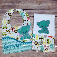 Personalized Baby Gift Set, Elephant Gift Set,  Burp Cloth Set, Baby Boy Gift set, Baby Gift, Personalized Gift set by StitchandQuilt on Etsy