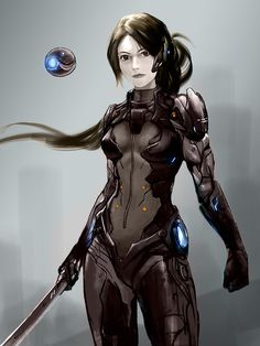 Original character : rina by aroonna on deviantart anime gam Female Character Concept, Character Design Girl, Character Art, Science Fiction, Sci Fi Anime, Character Inspiration, Design Inspiration, Art Manga, Futuristic Armour