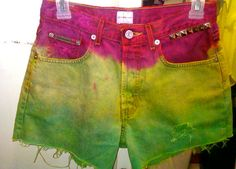 Rasta Colored Distressed and Studded Dip Dyed Jean Shorts denim studs weed rastafarian ombre by CheyennesAccessories, $20.00