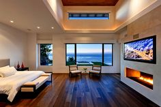 What a view! Master Bedroom Design, Dream Bedroom, Home Bedroom, Modern Bedroom, Bedroom Decor, Master Bedrooms, Master Suite, Contemporary Bedroom, Mansion Bedroom