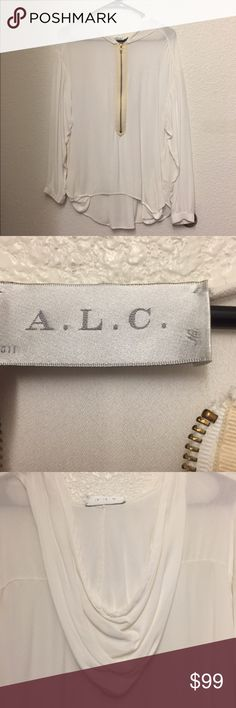 A.L.C white zipper down blouse Great style.  no trade no modeling A.L.C. Tops