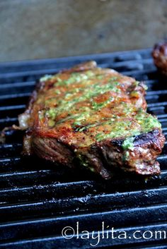 Achiote (annatto) and beer marinated grilled steak