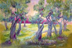 This olive grove was painted on commission for a newly completed living room needing some mediteranean flair. There was a wonderful zitrus green leather armchair in the room too. Perfect!