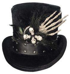 Witch Doctor Voodoo Tall Black Top Hat Skull by JenkittysCloset