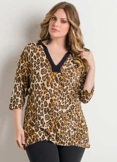 Blusa Decote V Onça Plus Size - Quintess