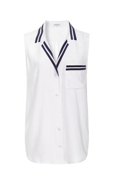 Sleeveless Keira Shirt With Contrast Collar by Equipment for Preorder on Moda Operandi