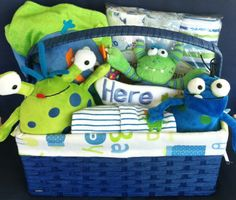 Monster Baby Boy Gift Basket by FiveBrownMonkies. Perfect baby shower gift! blue and lime green