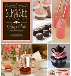 Sip and See Baby Shower Inspiration Board.but make into a baby shower Shower Party, Baby Shower Parties, Baby Shower Gifts, Baby Gifts, Baby Showers, Bridal Shower, Baby Party, Tea Party, Sip And See