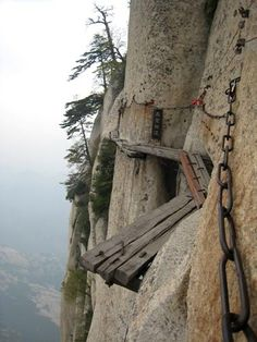 Take this trail to Mount Hua Restaurant in China- HAHAHAH you could NOT pay me enough to do this.