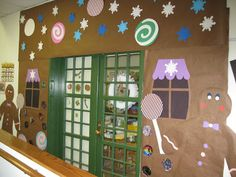 Gingerbread Man and Gingerbread House themed bulletin board and wall.  Great idea!