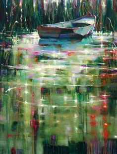 Boat painting reflections look like magic in the water. Donna Young