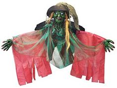This is the perfect #Halloween Decoration for a dimly lit corner. This 275cm Green #Witch Decoration has flashing light up red eyes when activated. Our witch features a highly detailed plastic head and is dressed in a black and red robe and has a green shimmering chiffon overlay. The witch has large posable arms with plastic hands.   Quantity Per Pack: - 1 275cm Green Witch Decoration.  Size: - 275cm Long.
