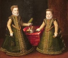 Sofonisba Anguissola (1532-1625) ~  Catherine Michelle (Infanta Catalina Micaela of Spain ) and Isabella Clara Eugenia with a dog and a parrot ~ 1570