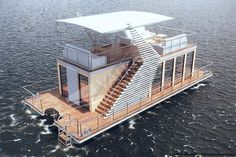 The Boathouse: a new definition to lakefront living! Pontoon Houseboat, Houseboat Living, Floating Architecture, Water House, Beach Bungalows, Floating House, Boat Design, Tiny House Design, Boat Building