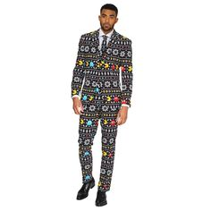 Show your love of classic video games with this Opposuit Winter Pac Man Men's Suit. This suit features Pac Man, ghosts, and snowflakes on a black background. Pac Man, Style Casual, Men Casual, Style Men, Christmas Suit, Office Christmas, Christmas Sweaters, Christmas Cards, Leather Men